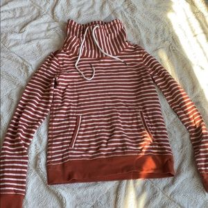 LL Bean Signature striped cowlneck pullover